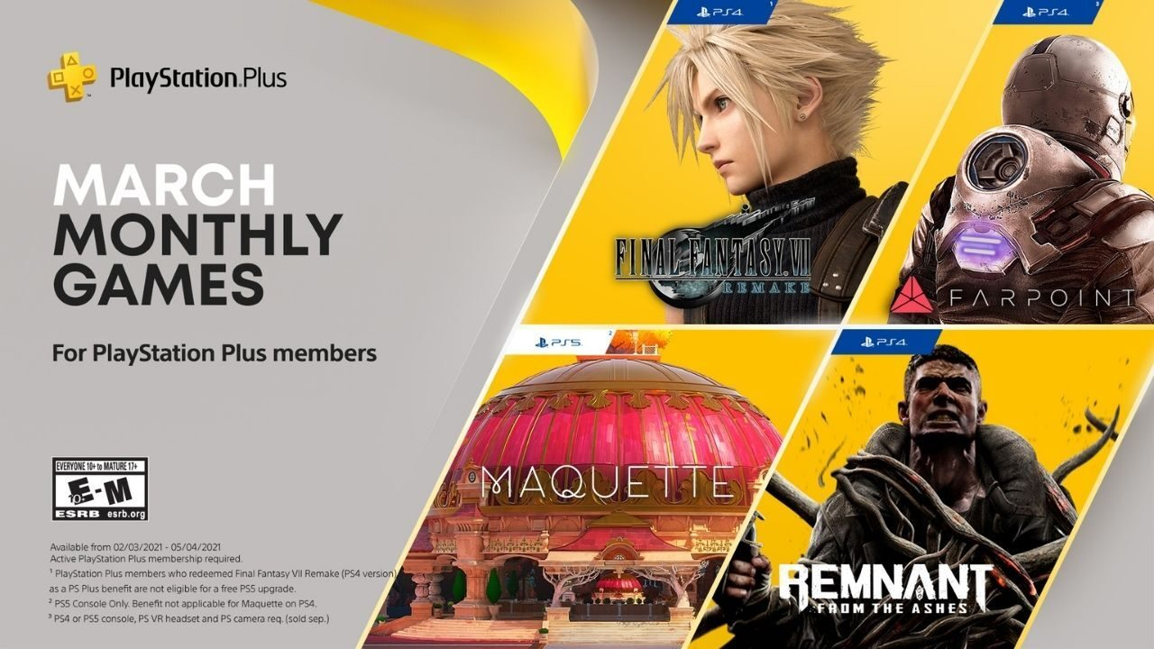 playstation-in-addition-game-titles-for-march:-ultimate-fantasy-vii-remake,-maquette,-remnant:-from-the-ashes-and-farpoint