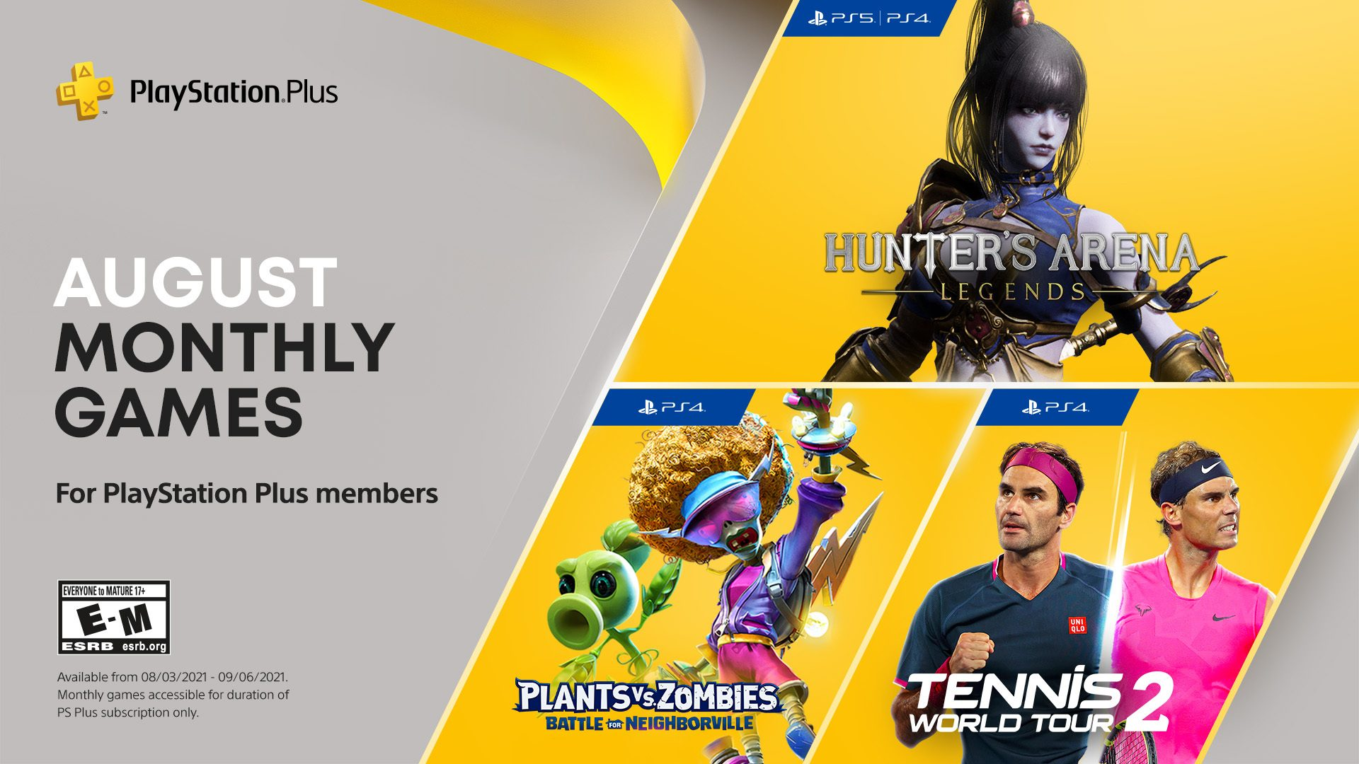 playstation-as-well-as-game-titles-for-august:-hunter's-arena:-legends,-plants-vs.-zombies:-battle-for-neighborville,-tennis-globe-tour-two